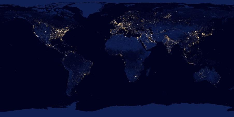 从外太空看地球的夜景