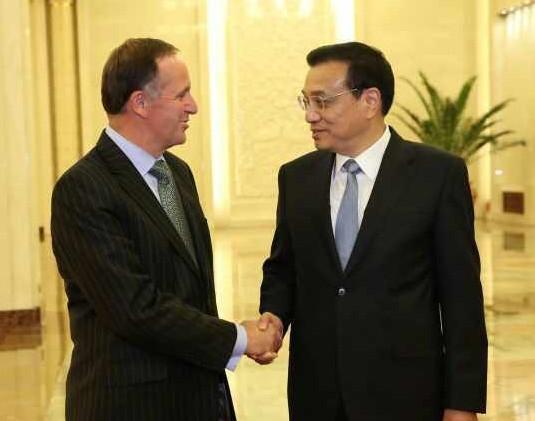 李克强同新西兰总理约翰-基举行会谈