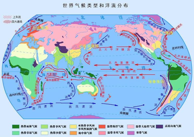 全球气候类型和洋流分布图